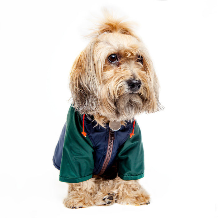 WAGWEAR | Nylon Colorblock Rainbreaker in Hunter Green & Navy (Exclusive to DOG & CO.)