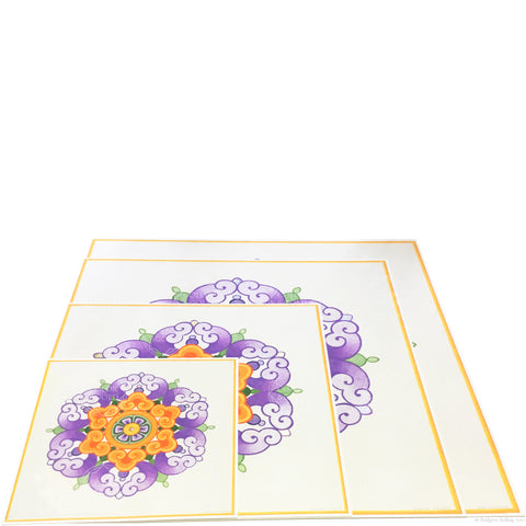 Purple, orange & 24 kt gold gilded Chinese flower design illuminated artworks - Color & Gold LLC © Bridgette Kelling