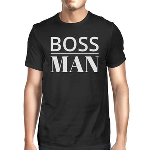 Boss Man Mens Black Graphic T-Shirt Matching Outfits For Family