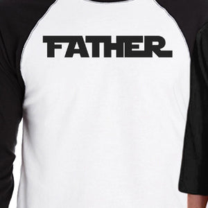 Father Son Star Battle Theme Dad and Kid Matching Black And White Baseball Shirts