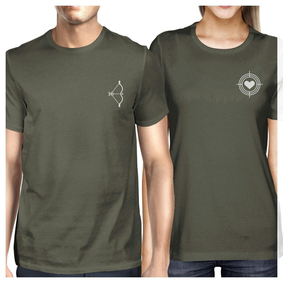 Bow And Arrow To Heart Target Matching Couple Dark Grey Shirts