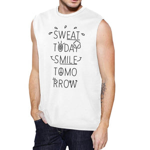 Sweat Smile Mens Funny Workout Muscle Tank Top Fitness Muscle Shirt