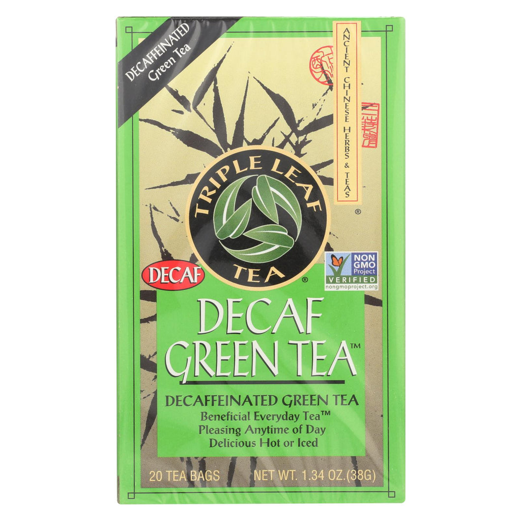 Triple Leaf Tea Decaffeinated Green Tea - 20 Tea Bags - Case Of 6