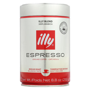Illy Caffe Coffee Coffee - Espresso - Ground - Medium Roast - 8.8 Oz - Case Of 6