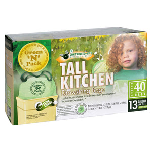 Green-n-pack Tall Kitchen Trash Bags - 13 Gallon - 40 Pack