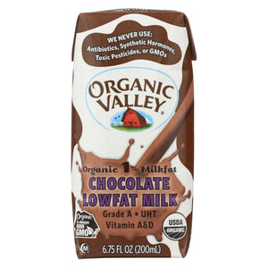 Organic Valley Single Serve Aseptic Milk - Chocolate 1% - Case Of 12 - 6.75oz Cartons