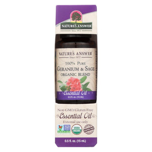Nature's Answer - Organic Essential Oil Blend - Geranium And Sage - 0.5 Oz.