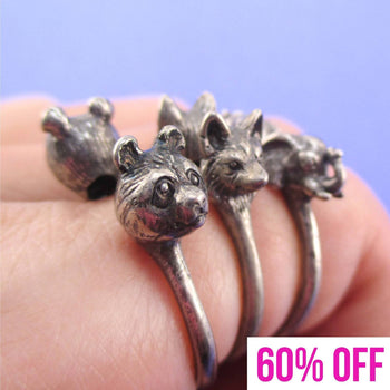 3D Animal Totem Rings in the Shape of a Panda Wolf and Elephant