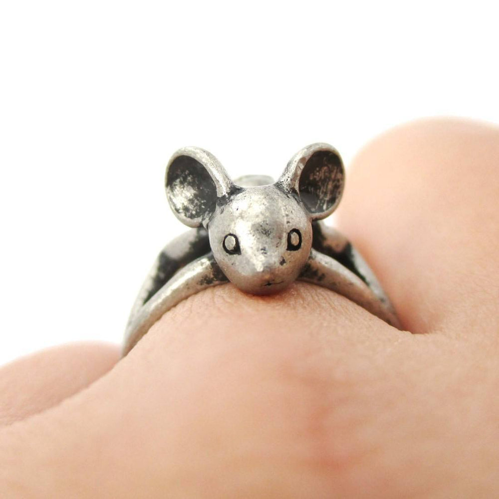 3D Baby Bat Shaped Animal Knuckle Wrap Ring in Silver | Animal Jewelry | DOTOLY