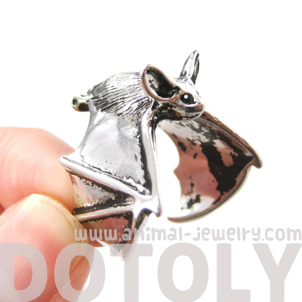 3D Bat Animal Wrap Ring in Shiny Silver: Sizes 5 to 10 Available | Animal Jewelry | DOTOLY