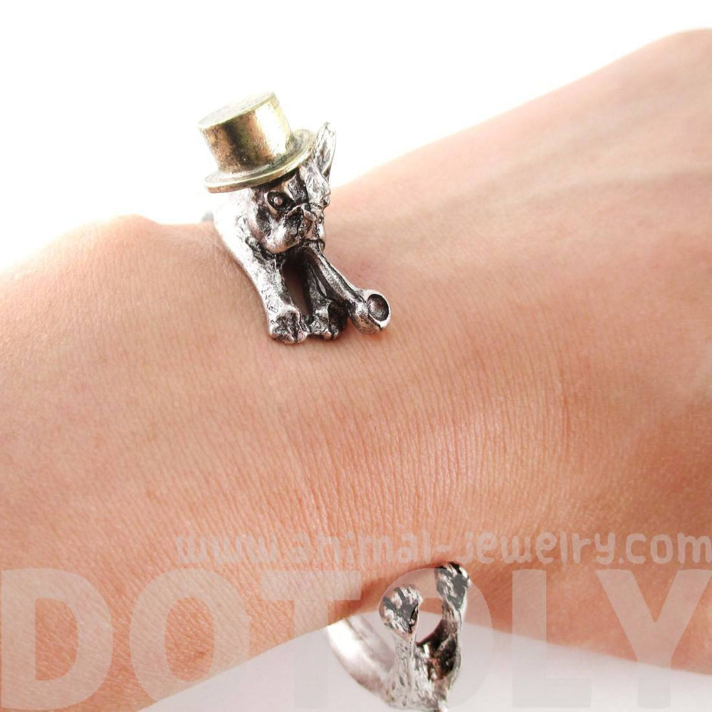 3D French Bulldog with Top Hat and Pipe Wrapped Around Your Wrist Shaped Bangle Bracelet | DOTOLY