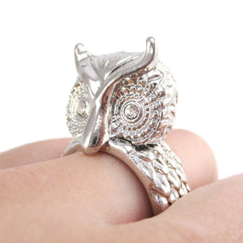 3D Great Horned Owl Shaped Animal Ring in Shiny Silver | DOTOLY