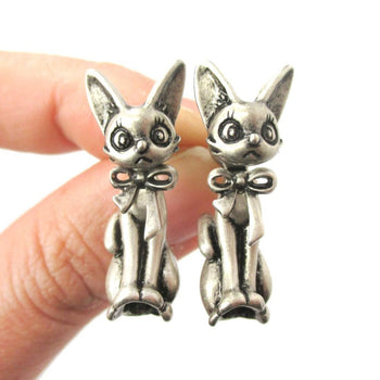 3D Kitty Cat Shaped Two Part Front and Back Dangle Earrings in Silver | DOTOLY | DOTOLY