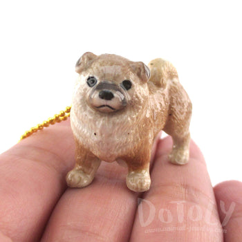 3D Porcelain Chow Chow Dog Shaped Ceramic Animal Pendant Necklace