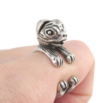 3D Pug Puppy Shaped Ring in Silver for Dog Lovers | SALE | DOTOLY