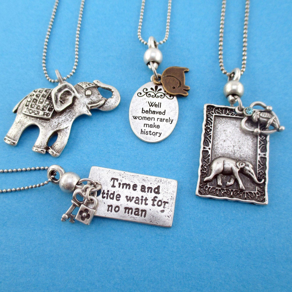 elephant-themed-4-piece-necklace-bundle-set-in-silver