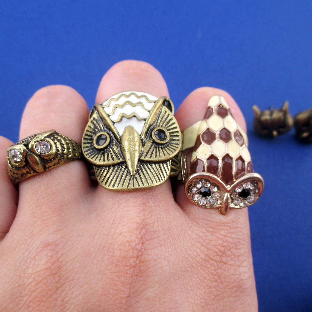 owl-shaped-animal-rings-and-stud-earrings-4-piece-set-in-brass-size-6