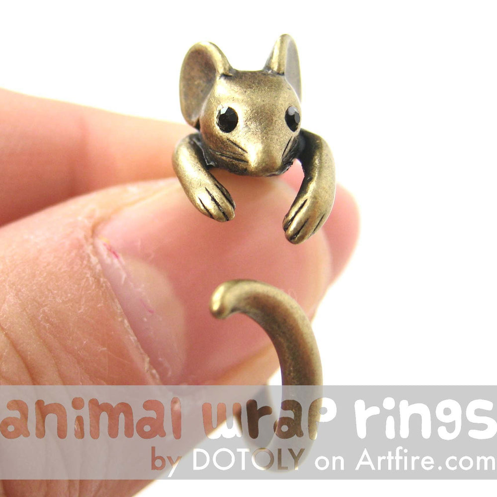 Mouse Animal Wrap Around Ring in Brass - Sizes 4 to 9 Available | DOTOLY