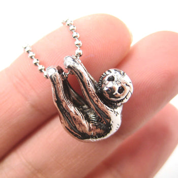 Sloth Baby Animal Pendant Necklace Realistic and Cute in Shiny Silver | DOTOLY