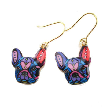 Abstract Colorful French Bulldog Puppy Shaped Dangle Drop Earrings | Animal Jewelry | DOTOLY