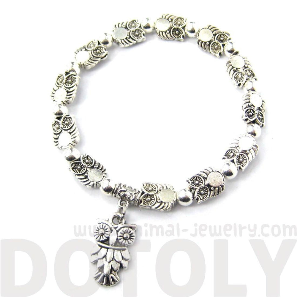 Abstract Owl Bird Shaped Animal Themed Stretchy Charm Bracelet in Silver | DOTOLY