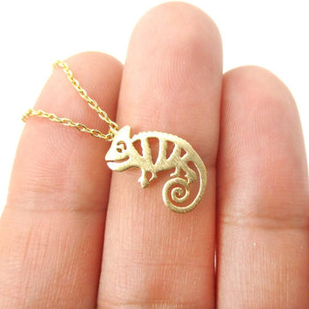 Adorable Chameleon Shaped Cut Out Charm Necklace in Gold | Animal Jewelry | DOTOLY