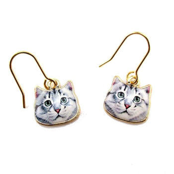 Adorable Grey Tabby Kitty Cat Face Shaped Dangle Drop Earrings | Animal Jewelry | DOTOLY