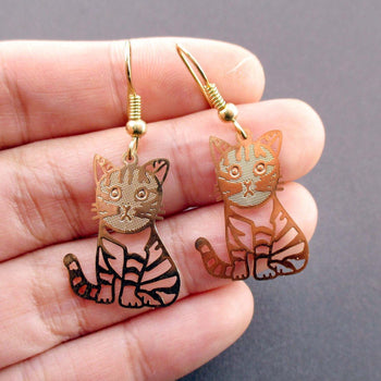 Adorable Kawaii Striped Kitty Cat Cut Out Shaped Dangle Earrings in Gold | DOTOLY | DOTOLY