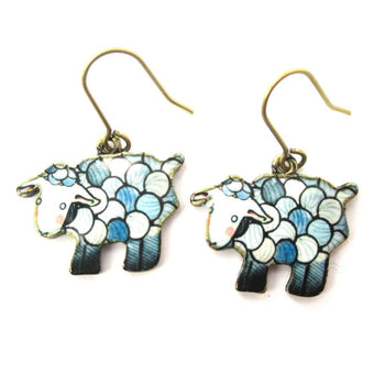 Adorable Sheep Shaped Illustrated Animal Dangle Earrings in Blue | DOTOLY | DOTOLY