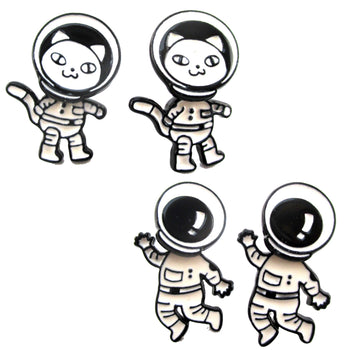Astronaut Cat in a Space Suit Space Themed Two Part Dangle Earrings