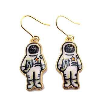 Astronaut Illustration Shaped Dangle Earrings | Space Themed Jewelry | DOTOLY