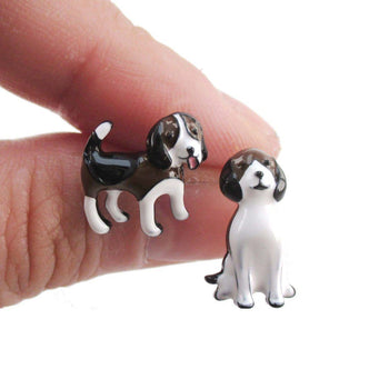 Beagle Puppies Shaped Pets Inspired Enamel Stud Earrings | DOTOLY