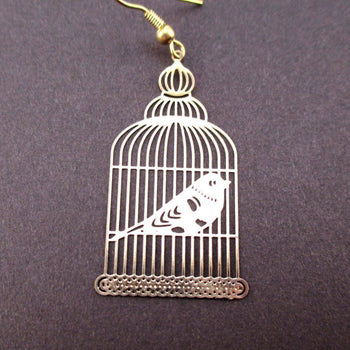 Birdcage Shaped Cut Out Filigree Dangle Drop Earrings in Gold | Animal Jewelry | DOTOLY
