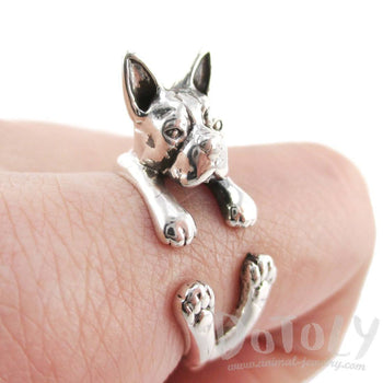 Boston Terrier Dog Shaped Animal Wrap Ring in 925 Sterling Silver | US Sizes 5 - 8.5 | DOTOLY