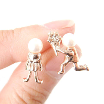 Boy Proposing to Girl Shaped Stud Earrings in Rose Gold with Pearls | DOTOLY | DOTOLY