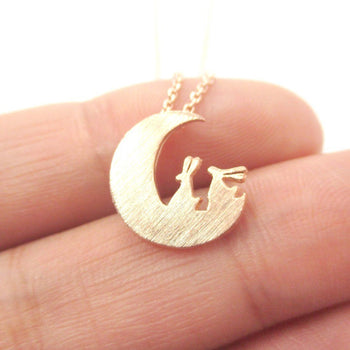 Bunny Rabbit on the Moon Silhouette Shaped Pendant Necklace in Rose Gold | Animal Jewelry | DOTOLY