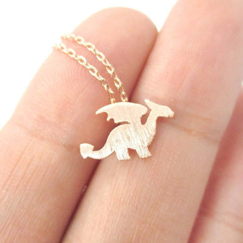 Classic Dragon Silhouette Shaped Pendant Necklace in Rose Gold | Animal Jewelry | DOTOLY