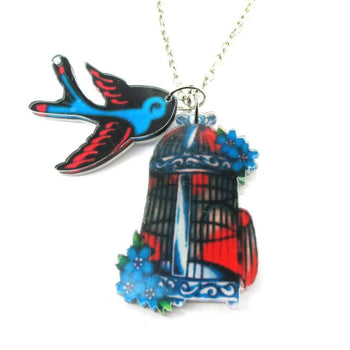 Colorful Sparrow Bird and Birdcage Shaped Acrylic Pendant Necklace