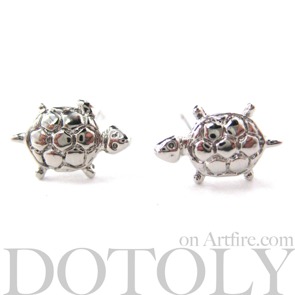 Turtle Tortoise Sea Animal Small Stud Earrings in Silver | DOTOLY