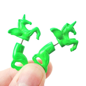Fake Gauge Earrings: Mythical Unicorn Horse Animal Faux Plug Stud Earrings in Green | DOTOLY