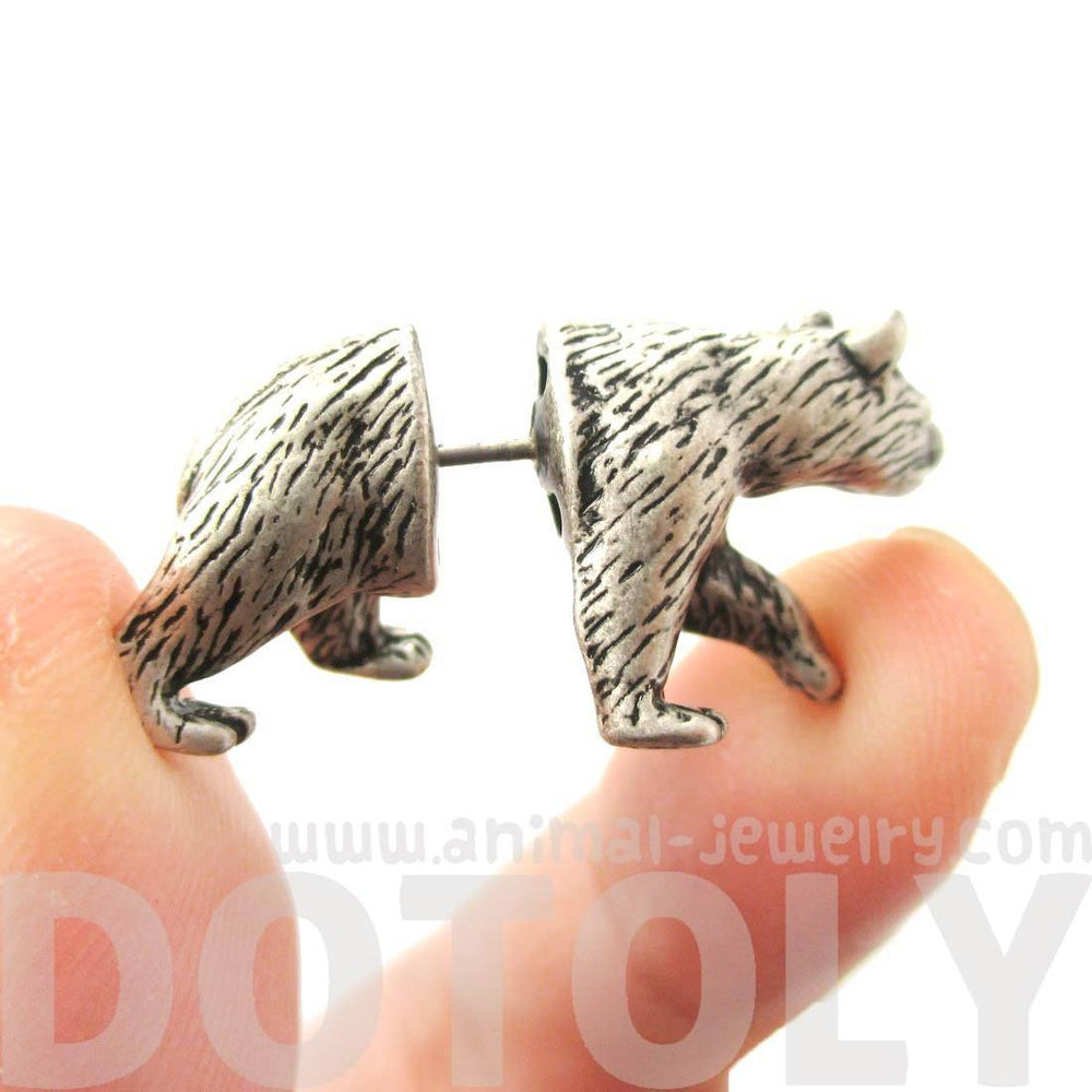 Fake Gauge Earrings: Realistic Polar Bear Shaped Animal Themed Faux Plug Stud Earrings in Silver | DOTOLY