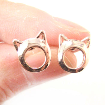 Kitty Cat Animal Ears Cut Out Stud Earrings in Rose Gold | DOTOLY | DOTOLY