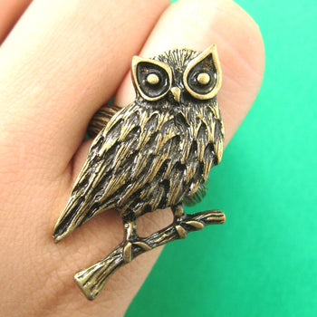 Realistic Owl Bird Animal Ring in Bronze Size 7 Only | DOTOLY