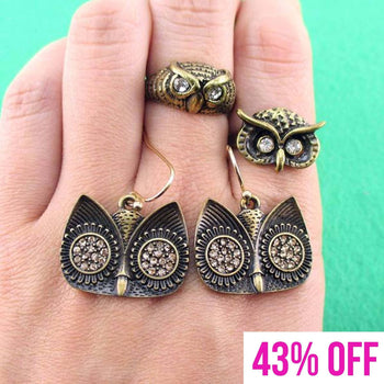 Owl Inspired Animal Rings and Dangle Earring 3 Piece Set in Brass