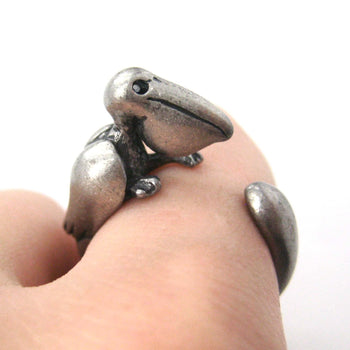 Pelican Bird Shaped Animal Wrap Around Ring in Silver | Sizes 4 to 9 Available | DOTOLY