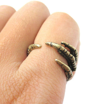 Realistic Animal Bird Claw Shaped Wrap Around Ring in Brass | Animal Jewelry | DOTOLY