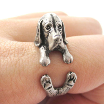 Realistic Basset Hound Shaped Animal Wrap Ring in Silver | Sizes 4 to 8.5 | DOTOLY