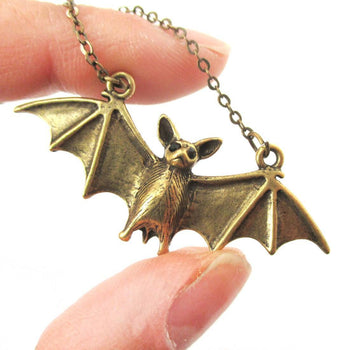 Realistic Bat Shaped Animal Pendant Necklace in Brass | Animal Jewelry | DOTOLY