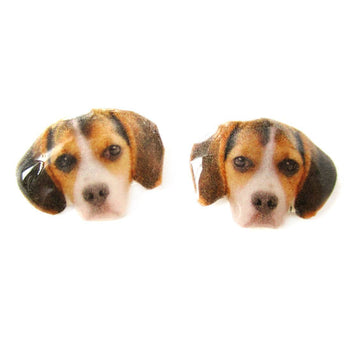 Realistic Beagle Face Shaped Animal Resin Stud Earrings | Made To Order | Handmade | DOTOLY