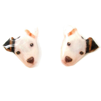 Realistic Black and White Spot Terrier Face Shaped Animal Resin Stud Earrings | DOTOLY